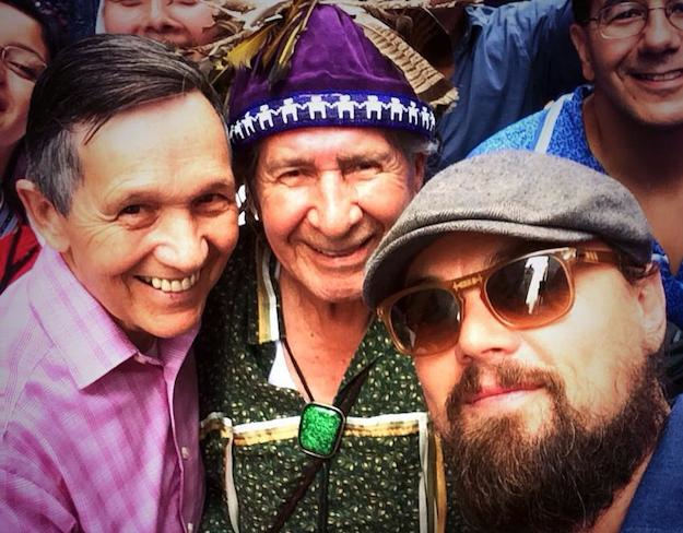 Chief Oren Lyons, Dennis Kucinich, and Leonardo DiCaprio at 2014 People's Climate March