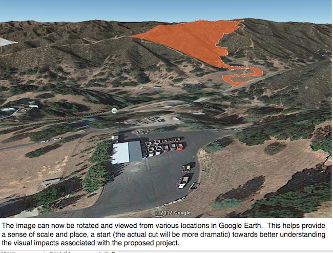 Google Earth Rendering of Mine Area
