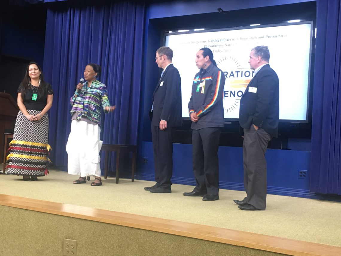From left to right: Sarah Eagle Heart, CEO of Native Americans in Philanthropy, on stage with Dr. Gail Christopher, Senior Advisor & Vice President of Truth and Racial Healing & Transformation with the W.K. Kellogg Foundation, Kevin Walker, CEO Northwest Area Foundation, Brandon Yellowbird Stevens, Tribal Councilman Oneida Tribe of Wisconsin & Advisory Board Member of My Brothers' Keeper Alliance, and Kevin Jennings, Executive Director of the Arcus Foundation.