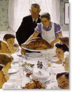 Classic American Thanksgiving scene painted by Norman Rockwell (1943)