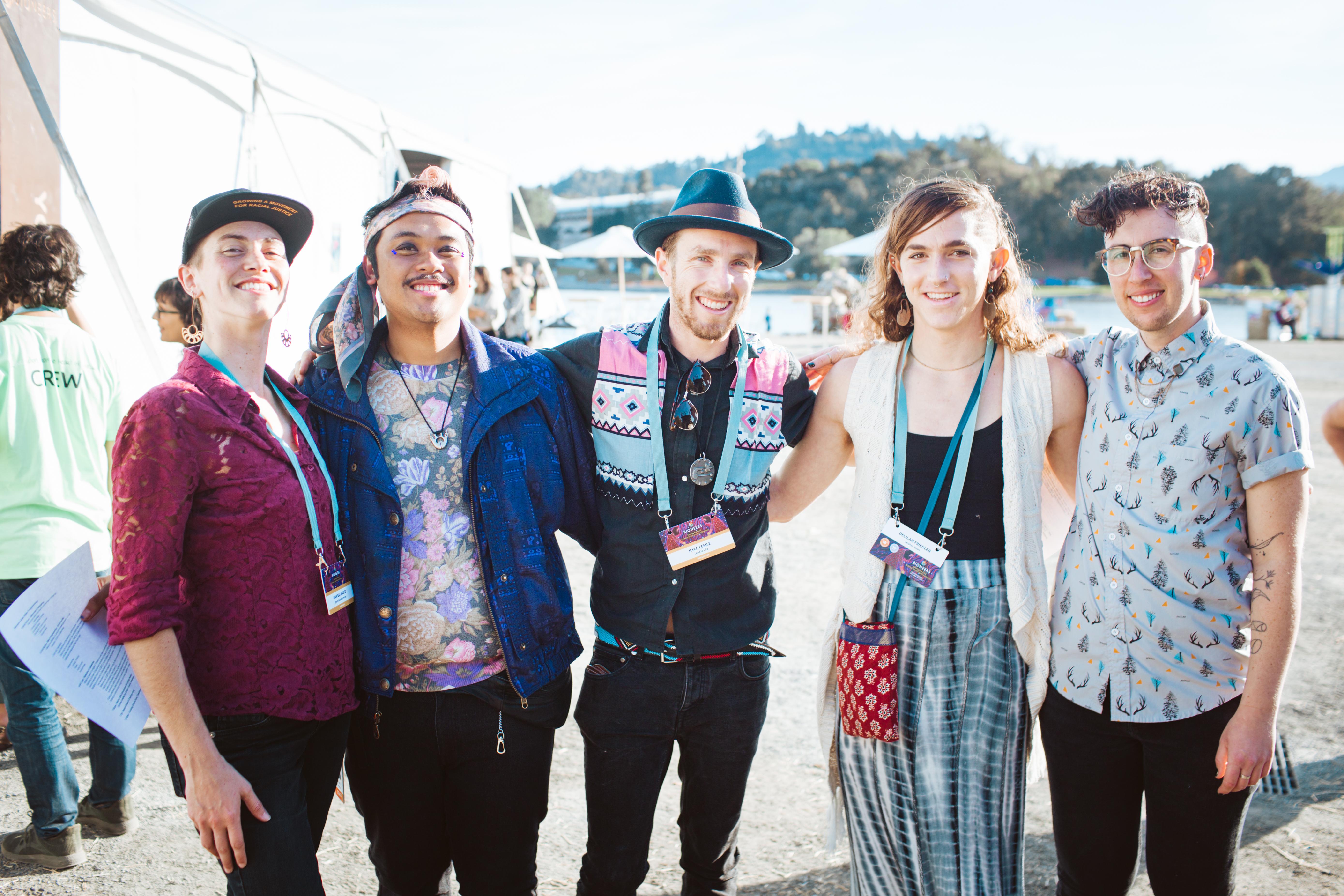 Queer Ecologies Mixer, Bioneers 2019. Left to Right: Vanessa Raditz, Orion Camero, Kyle Lemle, Delilah Frielder, Yanin Kramsky. Photo by Brooke Anderson