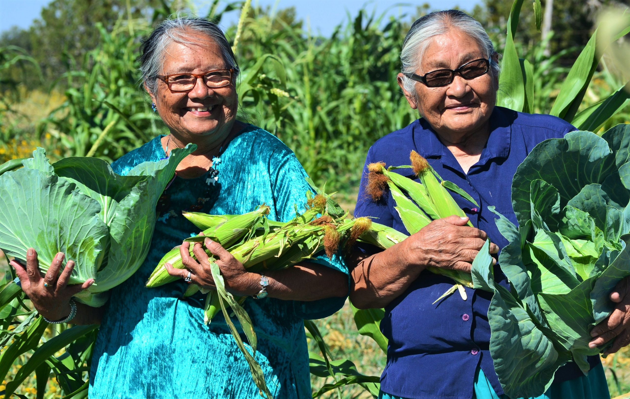 Harriet and Helen (Diné) community elders from Vanderwagen, N.M., hold corn and cabbage at Spirit Farm. PHOTO © JAMES SKEET. Photo originally appeared in www.GreenFireTimes.com